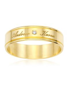 9ct Yellow Gold Personalised Diamond Set Wedding Ring
